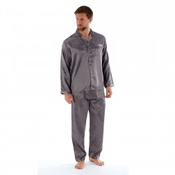Harvey James Mens Satin Dash Pyjama Set - Grey