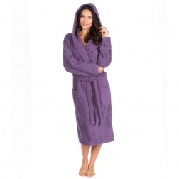 Forever Dreaming Cotton Hooded Towelling Robe - Plum