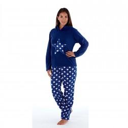 Selena Secrets Ladies Hooded Star Fleece Pyjama Set - Navy