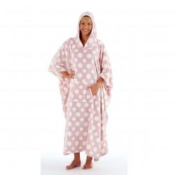 Inspirations Long Fleece Hooded Poncho - Pink