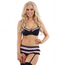 Sunburst Ruffle Trim Bra Set and Suspenders - Black