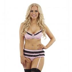 Sunburst Ruffle Trim Bra Set and Suspenders - Pink