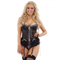 Sunburst Lace Basque and Tie Side Thong - Black/Silver