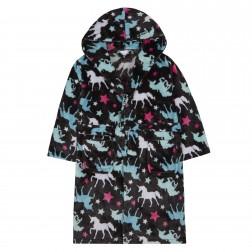Kids Unicorn Print Fleece Robe - Black
