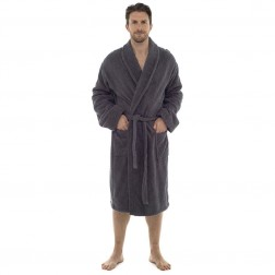 Tom Franks Cotton Towelling Robe - Grey