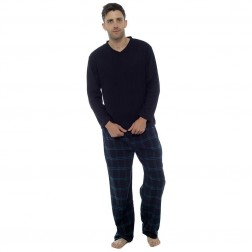 Foxbury Mens Fleece/Flannel Pyjama Set - Black Check