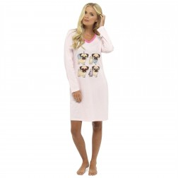 Foxbury Pug Dog Print Long Sleeve Nightdress - Pink