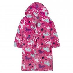 Kids Unicorn Print Fleece Robe - Pink