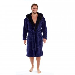 Harvey James Mens Hooded Contrast Well Soft Robe - Blue