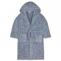 Kids Two Tone Fleece Robe - Navy