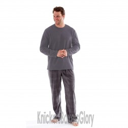 Harvey James Mens Fleece Pyjamas - Charcoal