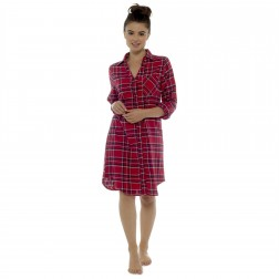 Ladies Brushed Cotton Check Night Shirt - Red/Navy
