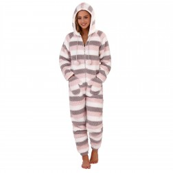 Loungeable Boutique Stripe Onesie With Mitten Pockets - Multi