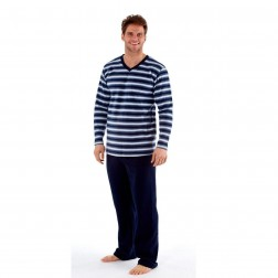 Harvey James Mens Fleece Pyjamas - Navy/Blue