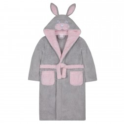 Kids Novelty Bunny Rabbit Fleece Robe - Grey
