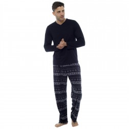 Foxbury Mens Jersey/Fleece Fairisle Pyjama Set - Black