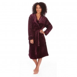 Forever Dreaming Shawl Collar Fleece Robe - Burgundy