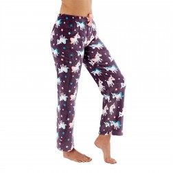 Selena Secrets Ladies Unicorn Print Fleece Lounge Pants