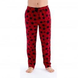 Harvey James Mens Star Print Fleece Lounge Pants - Winev