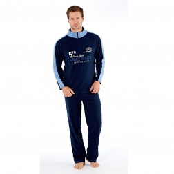 Harvey James Mens 'Ocean Spirit' Zip Loungewear Set - Navy/Blue