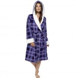 Tom Franks Check Print Sherpa Robe - Navy