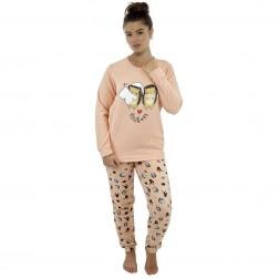 Follow That Dream Ladies Fleece Hedgehog Pyjamas - Peach