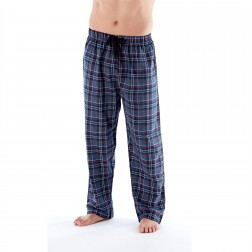 Harvey James Mens Check Flannel Lounge Pants - Blue