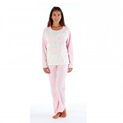 Selena Secrets Ladies Bear With Scarf Fleece Pyjama Set - Pink