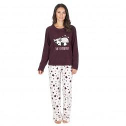 Forever Dreaming Fleece Day Dreamer Pyjama Set - Burgundy