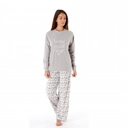 Ladies Snow Much Fun/Fairisle Fleece Pyjama Set - Grey