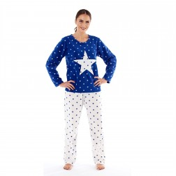 Selena Secrets Ladies Star Applique Fleece Pyjama Set - Navy