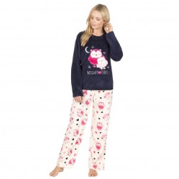 Forever Dreaming Luxury Fleece Owl Pyjama Set - Navy