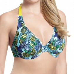 Panache Cleo Carmen Halter Bikini Top - Tropical Print