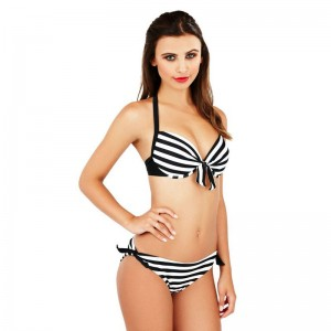 Boutique Monochrome Striped Bikini Set