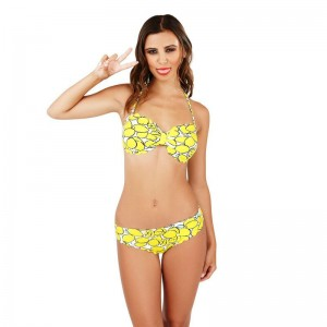 Boutique Lemon Print Bikini Set