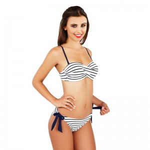 Boutique Nautical Stripe Twist Bikini Set