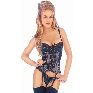 Sunburst PVC Basque and Thong Set - Black