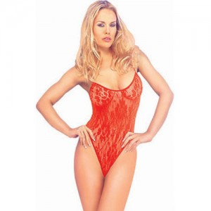 Classified Floral Lace Bodystocking - Red