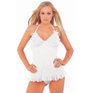 Ruffled Babydoll and Thong - White