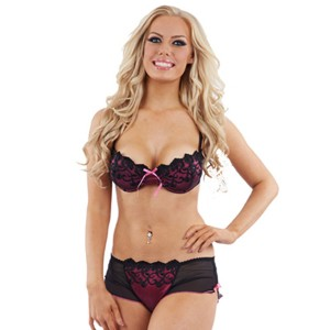 Sunburst Embroidered Bra and Short Set - Purple/Black