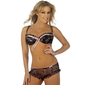Sunburst Floral Bra and Shortie Brief Set - Black