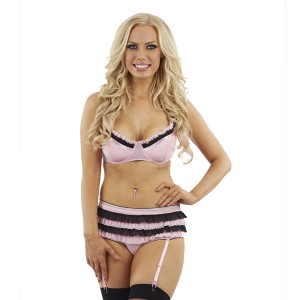 Sunburst Ruffle Trim Bra Set and Suspenders - Pink