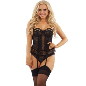 Sunburst Lace Basque and Thong Set - Black