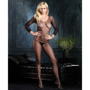 Leg Avenue Long Sleeved Fishnet Bodystocking - White