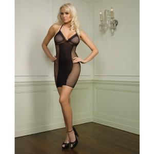 Leg Avenue Fishnet Halter Mini Dress