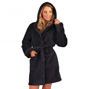 Ladies Super Soft Hooded Fleece Dressing Gown - Black