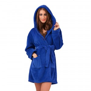 Ladies Super Soft Hooded Fleece Dressing Gown - Blue