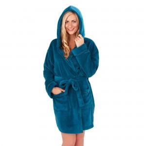 Ladies Super Soft Hooded Fleece Dressing Gown - Teal