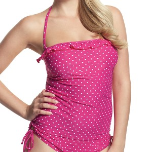 Panache Cleo Betty Bandeau Tankini Top - Pink Spot