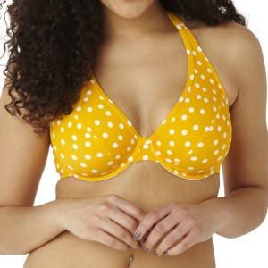 Panache Cleo Betty Plunge Halter Bikini Top - Yellow